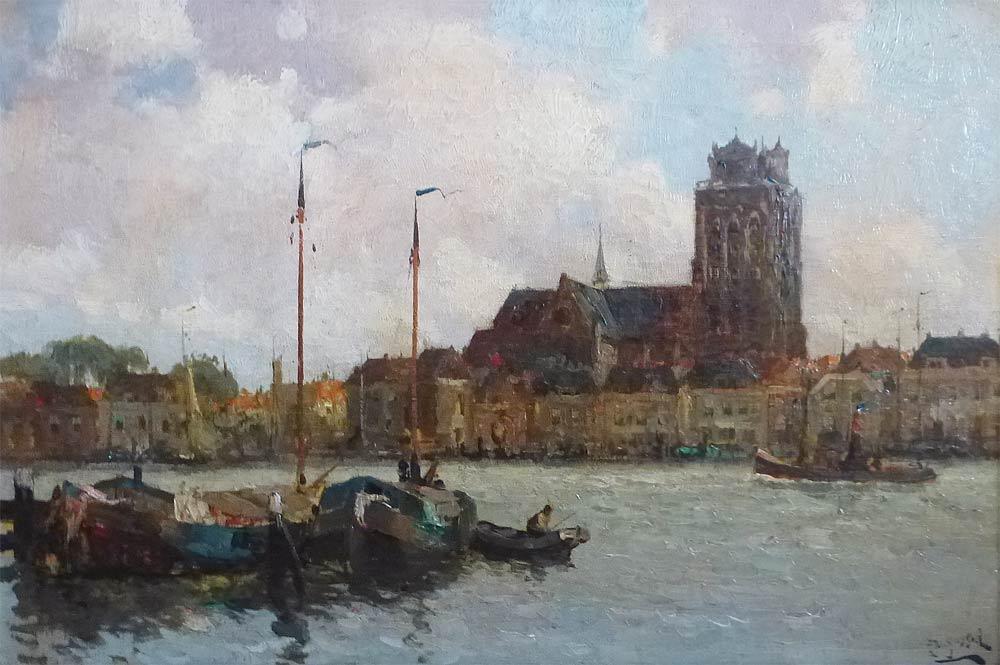 Gezicht op Dordrecht, gesigneerd met H. van Gesse