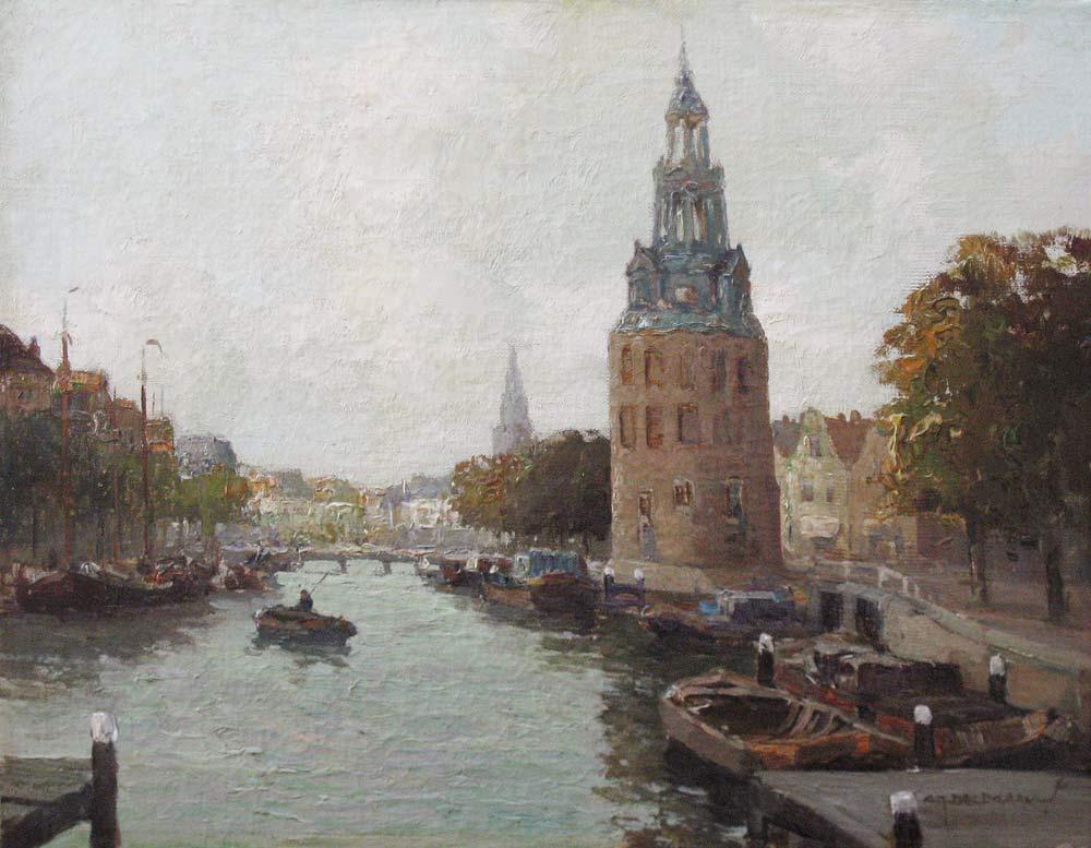 Gezicht op de Montelbaantoren te Amsterdam