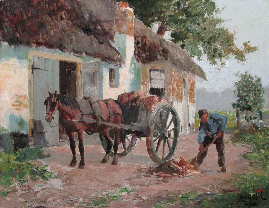 Boerenerf met boer en paard