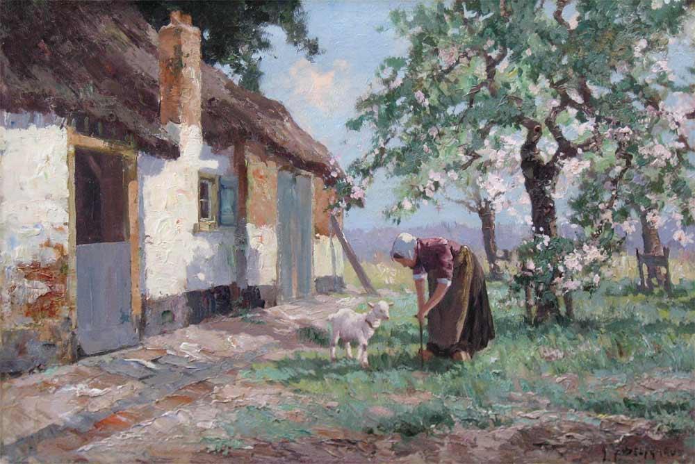 Boerin met geitje op het erf