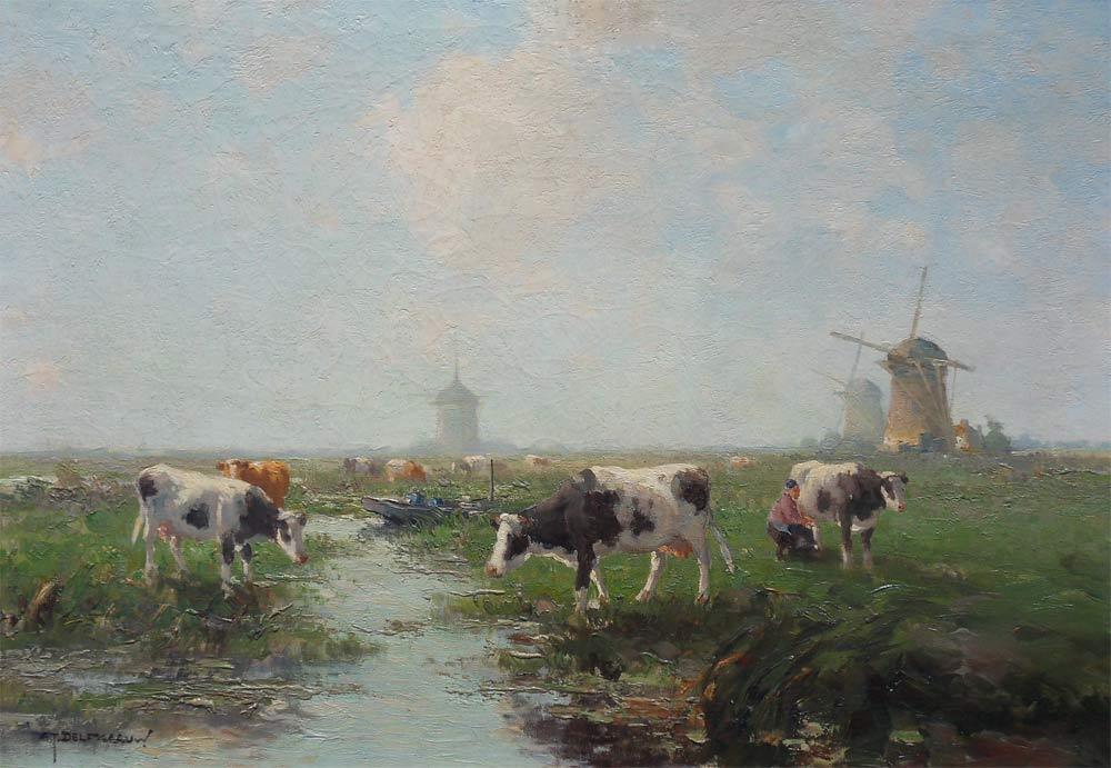 Molenlandschap met koeie