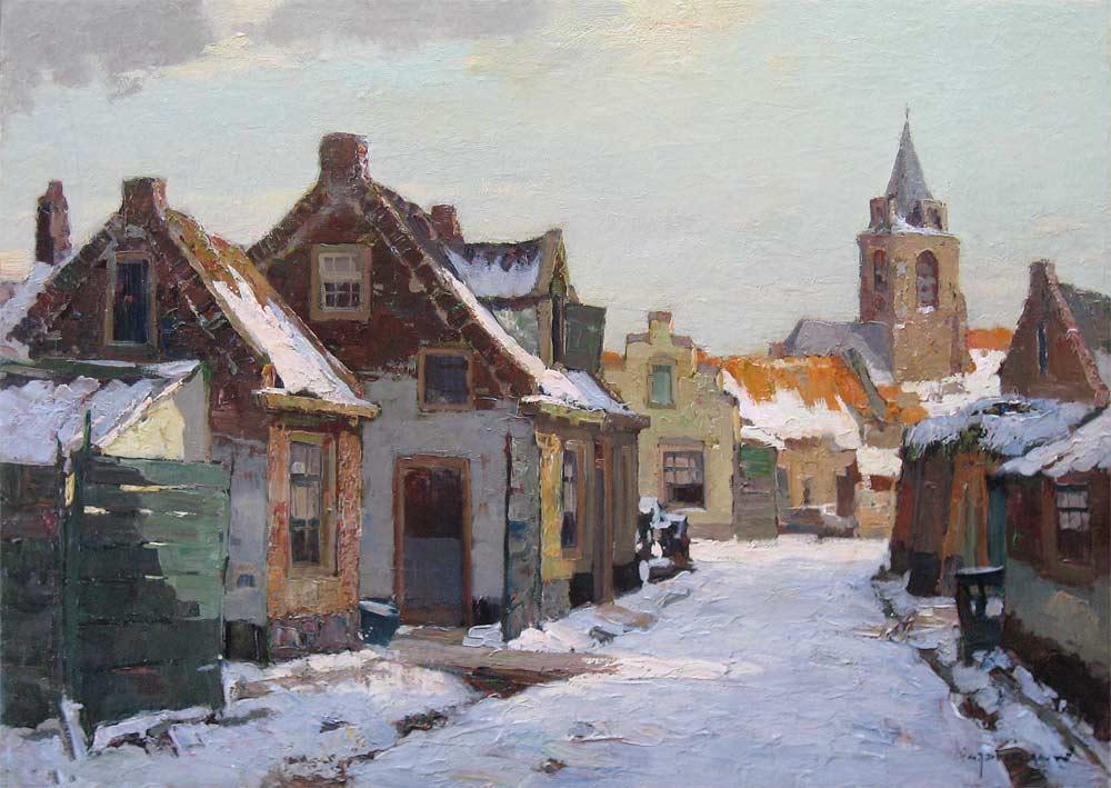 Stadsgezicht in de winter