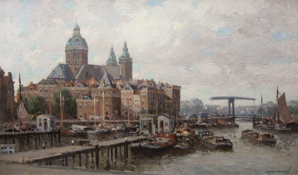 Gezicht op de St. Nicolaaskerk te Amsterdam
