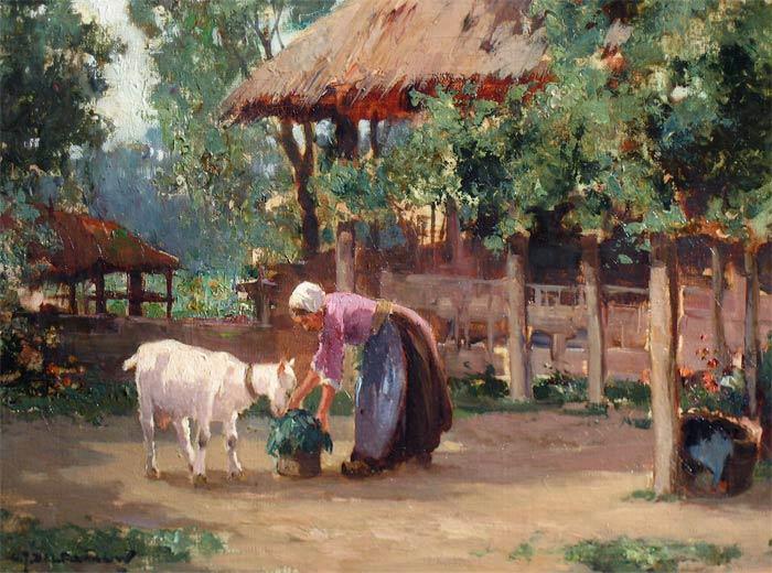 Boerin met geitje