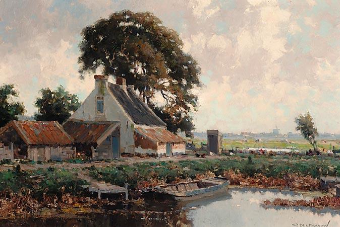 Boerenerf aan het water bij Voorschote