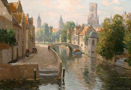 Gezicht op Belfort te Brugge