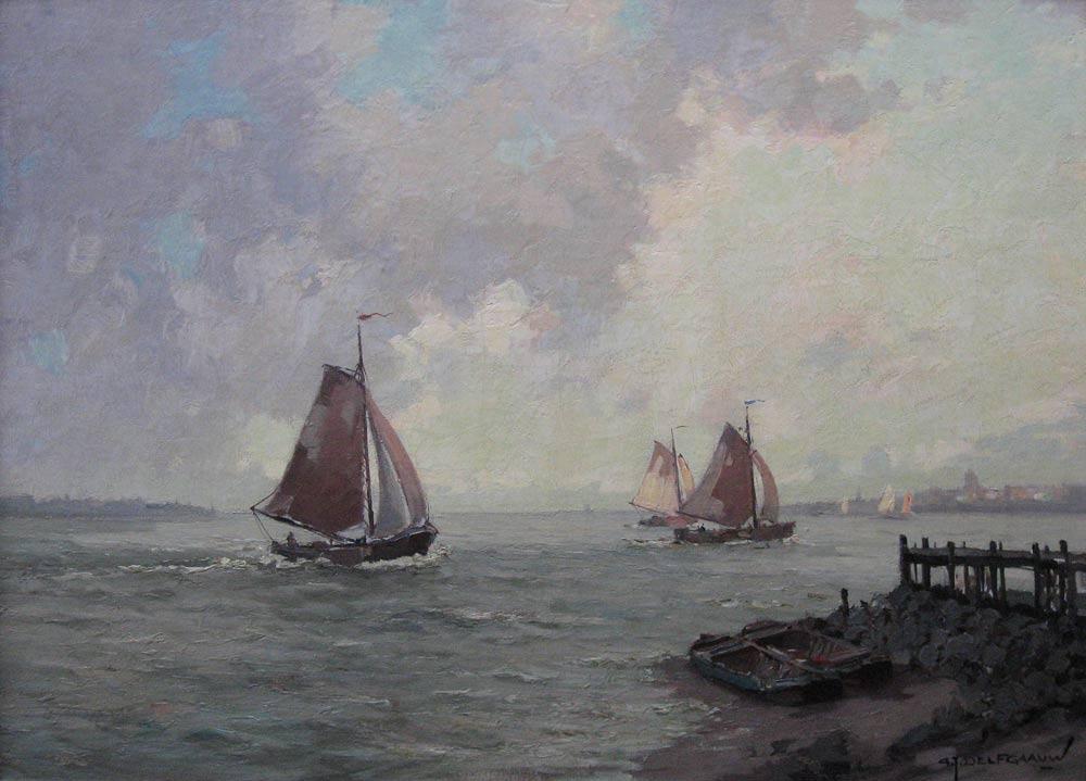 Zeilschepen op de rivier